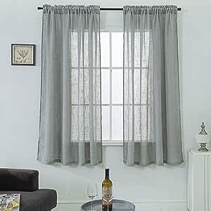 "CORPS GEMA 纯色纯色窗帘和帷幔 Rod Pocket| Grey 72""L |Pair"