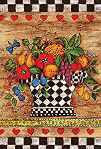 Toland Home Garden Checkerboard Bouquet 28 x 40 Inch Decorative Vegetable Fruit Potted Harvest Heart House Flag