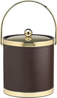 Kraftware Corp. 精致抛光金色 3 夸脱冰桶,金属盖,表带和马桶手柄 棕色 3 夸脱 50368