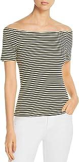 Three Dots 女式露肩条纹 T 恤