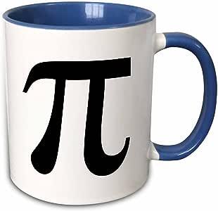 3dRose InspirationzStore 排版 - Pi 标志数学标志。 数学黑色和白色数学数字 - 马克杯 蓝色/白色 11-oz Two-Tone Blue Mug 191767266256