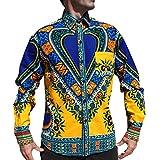 Raan Pah Muang Funk 工装衬衫非洲大喜吉节日长袖欧式领 黄色 X-Large