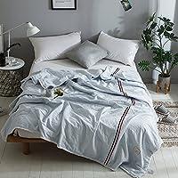 可慕家纺 全棉水洗棉面料新疆棉填充夏被 织带设计法式浪漫F (150*200cm, 蓝色)