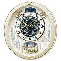 セイコー クロック 掛け時計 電波 アナログ からくり トリプルセレクション メロディ 回転飾り 薄金色 パール RE579S SEIKO