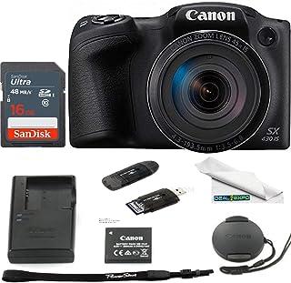 Canon PowerShot SX430 是 20 MP 数码相机(黑色) - 16GB Expo 基本配件包