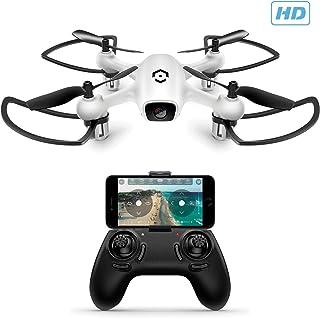 Amcrest A4-W Skyview Mini RC 直升机无人机带摄像头,720p HD 4 声道四轴飞行器无人机,带遥控器,FPV,无头模式,海拔固定,智能手机兼容性(白色)