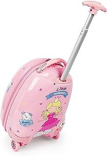 Newcom 带轮子的儿童行李箱 16 英寸随身行李箱 硬壳 幼儿 拉杆箱 女孩 旅行箱 (粉色)