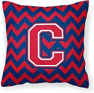 Caroline's Treasures CJ1054-CPW1414 字母 C Chevron Yale 蓝色和深红色织物装饰枕头,35.56 cm 高 x 35.56 cm 宽,多色