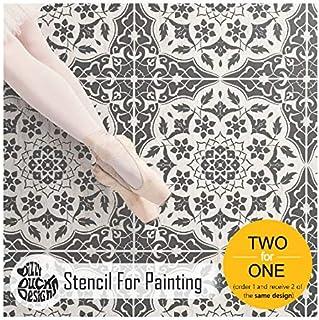 Azar 边框墙壁家具瓷砖模板用于绘画| 可定制尺寸 30 cm (6 tile repeat)