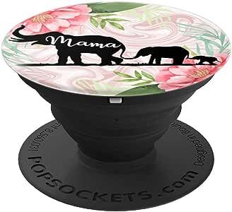 Optimistic Mama Elephant - 粉红色玫瑰礼品 - PopSockets 手机和平板电脑握架260027  黑色