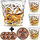 Diamond Whiskey 玻璃杯 - 4 件套 - Vaci + 4 杯垫,超清晰水晶 Scotch 玻璃、Malt 或 Bourbon、玻璃器具礼品套装