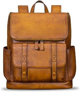 真皮双肩背包男式手工复古高容量书包帆布背包休闲小背包