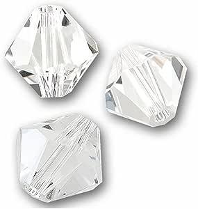 Preciosa 双锥体水晶间隔珠耳环手链项链吊坠脚链钥匙链首饰制作配件用品 透明 3mm (0.12 inch)
