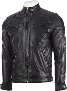Absolute Leather 男式 Savio 黑色经典真羊皮夹克