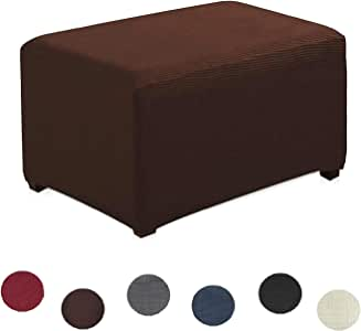 Argstar 提花椅/双人沙发套氨纶涤纶枕套弹力防皱防滑纯色印花 巧克力色 Ottoman MJM180700CL