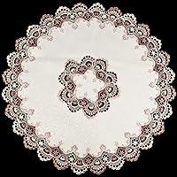 Linens, Art and Things 欧式薄纱蕾丝象牙色桌面桌布 91.44 厘米圆桌布