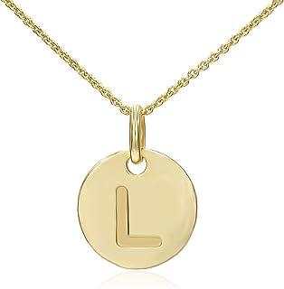 STONIQUE CREATIONS 925 黄金闪烁纯银圆形圆盘字母 A-Z 首字母吊坠项链 Rolo 链 45.72 厘米
