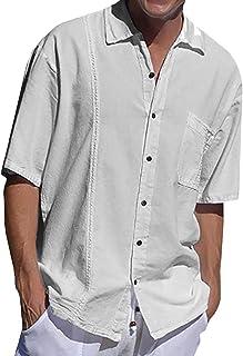 Pretifeel 男式短袖衬衫古巴野营瓜亚贝拉休闲亚麻系扣宽松版型夏季海滩衬衫