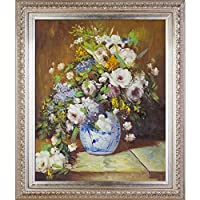 "overstockArt Grande Vase Di Fiori by Pierre-Auguste Renoir 创作手绘油画带巴西画框,67.31 cm x 77.47 cm 多种颜色 30"" x 26"" RN2607-FR-7870S20X24"