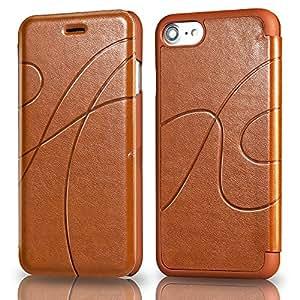 iPhone 8 手机壳、iPhone 7 手机壳、Reexir 皮革翻盖钱包手机壳适用于 Apple iPhone 8 / iPhone 7 浅棕色