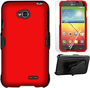 Beyond Cell Beyond Cell 3-in-1 Kombo Case and Holster Belt Clip Combo with Screen Protector for LG L70 - Retail Packaging - Red