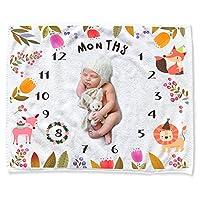 CAVN Baby Milestone 毯子摄影背景道具 4-Flannel/Animal Kingdom