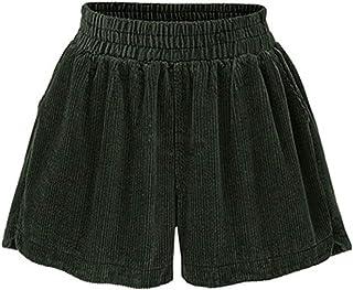 Tanming 女式休闲纯色高弹性腰部口袋阔腿灯芯绒短裤