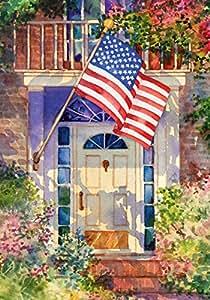 Toland Home 花园爱国家居 31.75 x 45.72 cm 装饰夏季花卉美国星条旗花园旗