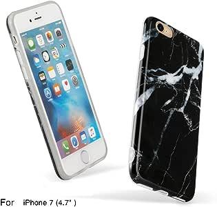iPhone 8 手机壳 iPhone 7 手机壳,JUN-Q 大理石设计 TPU 软防震后盖橡胶硅胶手机壳适用于 iPhone 7 iPhone 8HF-US-cases003-1 黑色