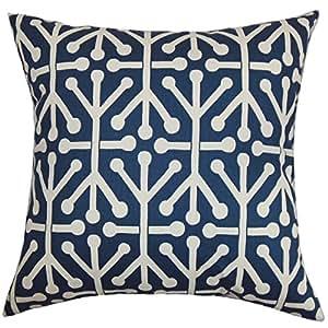 "The Pillow Collection Heath 几何欧式枕套 蓝色 自然色 蓝色 King/20"" x 36"" KING-PP-ARUBAFELIX-BLUENATURAL-"