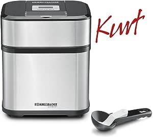 Rommelsbacher 在12 4合1冰淇淋机器 Kurt / 适用于冰淇淋 , 冰冻酸奶 , 果汁 & Slush / 计时器 / 包括冰淇淋勺子 / 1.5 L / 不锈钢 , 黑色