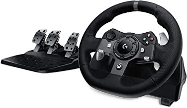 Logitech 罗技 G920 Driving Force系列 模拟赛车方向盘及踏板 双引擎力反馈 900° 转向范围,皮革方向盘,可调式不锈钢踏板,Xbox One/PC/Mac,黑色