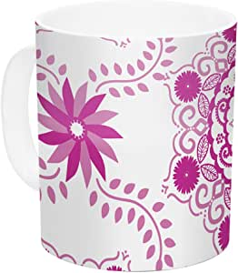 "Kess InHouse Anneline Sophia""Let's Dance Fuchsia""粉色花卉陶瓷咖啡杯,311.84 g,多种颜色"