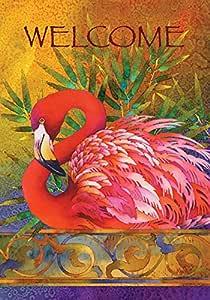Toland Home 花园粉色火烈鸟 31.75 x 45.72 cm 装饰热带欢迎鸟羽毛花园旗帜