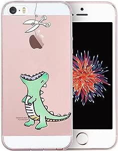 Unov 手机壳透明设计压花图案 TPU 软缓冲减震纤薄保护壳 iPhone SE iPhone 5s iPhone 54336743787 Mint Dinosaur