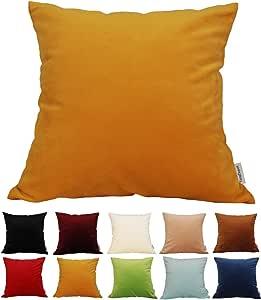 "TangDepot 纯色天鹅绒抱枕套/欧式枕套/沙发,超豪华柔软枕套,多种颜色和尺寸可供选择 金黄色 24"" x 24"" TPCover-SolidVelvet-24x24GoldenYellow"