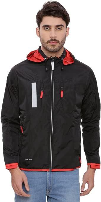 VERSATYL 多用途旅行夹克带 18 个口袋和 29 个特点,带可拆卸兜帽 中性款 * 涤纶 Black and Fiery Red Medium