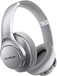 Anker Soundcore Life Q20 混合主动降噪耳机,无线头戴式蓝牙耳机,40H 播放时间,高分辨率音频,深低音,*泡沫耳罩和头带A3025041 银色