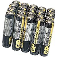 GP 超霸 碳性AAA干电池儿童玩具7号七号遥控器用20粒电池24PL-BJ2(亚马逊自营商品, 由供应商配送)