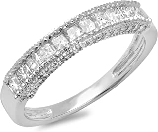 0.75 Carat (ctw) 10K White Gold Princess & Round Diamond Wedding Band Stackable Ring 3/4 CT (Size 7.5)