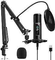 USB 麦克风零延迟监控 MAONO PM422 192KHZ/24BIT 专业心脏电容麦克风,带触摸静音按钮和麦克风增益旋钮,用于录制、播客、游戏、YouTube