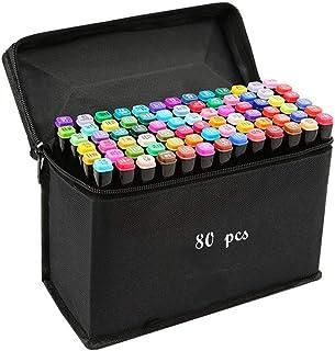 80 色图形记号笔,艺术家必备永久艺术马克笔双记号笔动画设计用于绘画上色、亮光和下衬里 黑色 80 Color 80 Color marker
