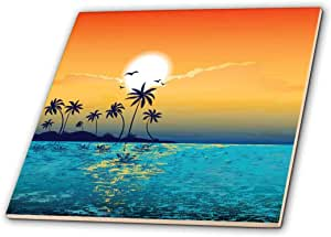 3dRose ct_152578_2 A Tranquil Island Scene Against a Sunset with Palm Trees and Sparkly Blue Water Ceramic Tile, 6-Inch