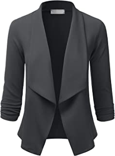 EIMIN 女士轻质弹力七分袖外套前开襟夹克(S-3XL)