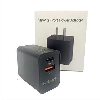 USB C 充电器 18W 2 端口 PD 充电器,带 QC3.0 端口功率传输,适用于 iPhone SE 11 Pro Max Xs Max XR X 8 Plus,iPad Pro,AirPods,Google Pixel,Samsung...