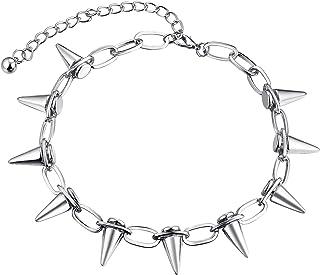 FJ 嘻哈银色铆钉项链,轻质空心合金,趣味珠宝