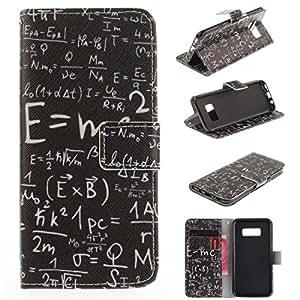 GALAXY S8保护套 gift_source [ 卡槽 ] [ 钱包功能 ] 高级软 PU 皮革磁性对开式翻转皮套支架保护壳壳适用于 Samsung Galaxy S855.88cm [ ] U103-Math Formula