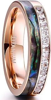 Cloyo 6 毫米男式女式鲍鱼壳和 CZ 镶嵌玫瑰金钛戒指婚戒舒适贴合尺寸 5 至 12
