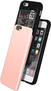 iPhone 6 手机壳,GOOSPERY【滑动卡夹】保护双层缓冲【TPU+PC】保护套带卡槽钱包适用于 Apple iPhone 6 玫瑰金