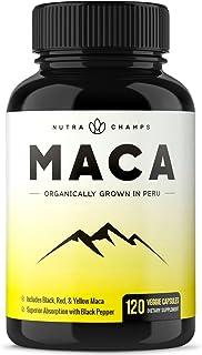 NutraChamps 马卡根粉胶囊-秘鲁生长-适合男性女性,体能和情绪补充剂-素食主义-明胶+黑胡椒提取物,效果卓越,1000mg